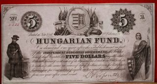 Uncirculated 1852 Obsolete Currency $5 Hungarian Fund Note S/h photo