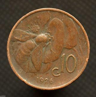 Italy 10 Centesimi 1926,  Km60,  Italia Animal Coin - Bee,  Exact Item Pictured. photo