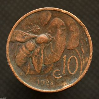 Italy 10 Centesimi 1927,  Km60,  Italia Animal Coin - Bee,  Exact Item Pictured. photo