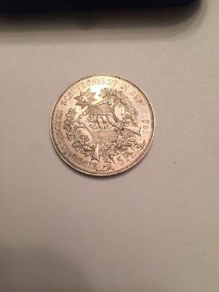 1885 Bern Switzerland 5 Fr Francs Silver Au Coin Swiss Shooting Thaler R193a photo