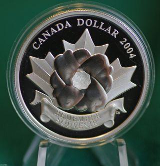 2004 Canada Special Edition 99.  99 Silver Poppy Proof Dollar photo