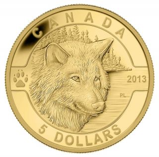 2013 O Canada Series $5 Fine Gold Coin - The Wolf - Tax Exempt photo