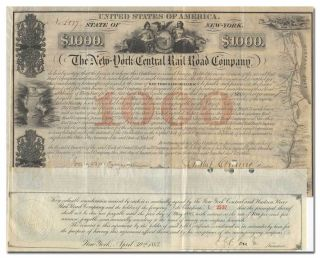 York Central Rail Road Company Bond Certificate Signed By Erastus Corning photo