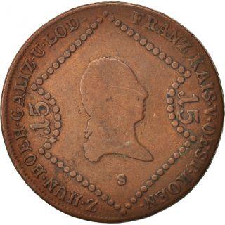 [ 19254] Austria,  Franz Ii (i),  15 Kreuzer,  1807,  Schmollnitz,  Copper, . photo