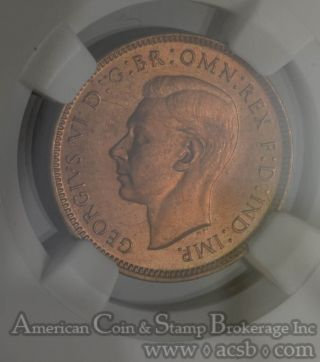 Great Britain 1 Farthing 1943 Ms66 Rd Ngc Bronze Km 843 George Vi Finest Red photo