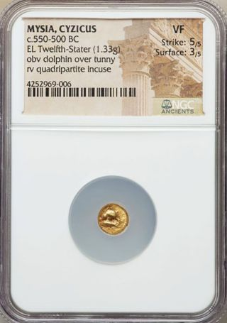 550 - 500 Bc Gold Mysia Cyzicus El 1/12 Stater Dolphin Coin Ngc Very Fine photo