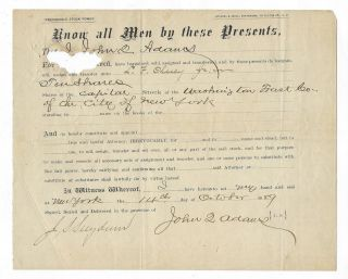 John Q.  Adams 1889 Stock Certificate Jsa Full Letter Of Regret Of Authenticity photo