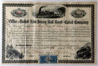1872 United Jersey Rail Road Canal Company Signed Stock Certifcate Document photo
