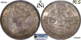 Ini Great Britain,  Victoria,  Gothic Florin,  2 Shillings,  1852,  Pcgs Ms 64 photo