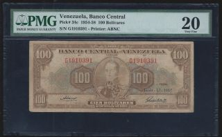 1957 Venezuela 100 Bolivares Pic 34c Pmg 20 Very Fine photo