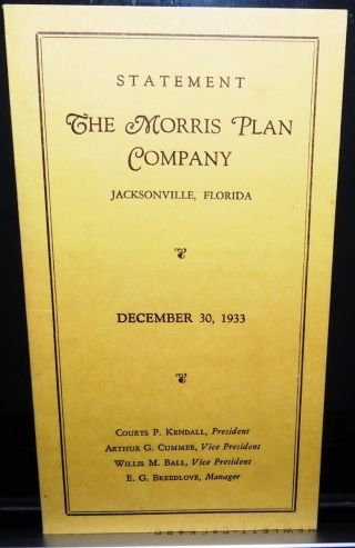 Jacksonville,  Fl 1933 Financial Statement The Morris Plan Company photo