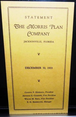 Jacksonville,  Fl 1933 Financial Statement The Morris Plan Company photo