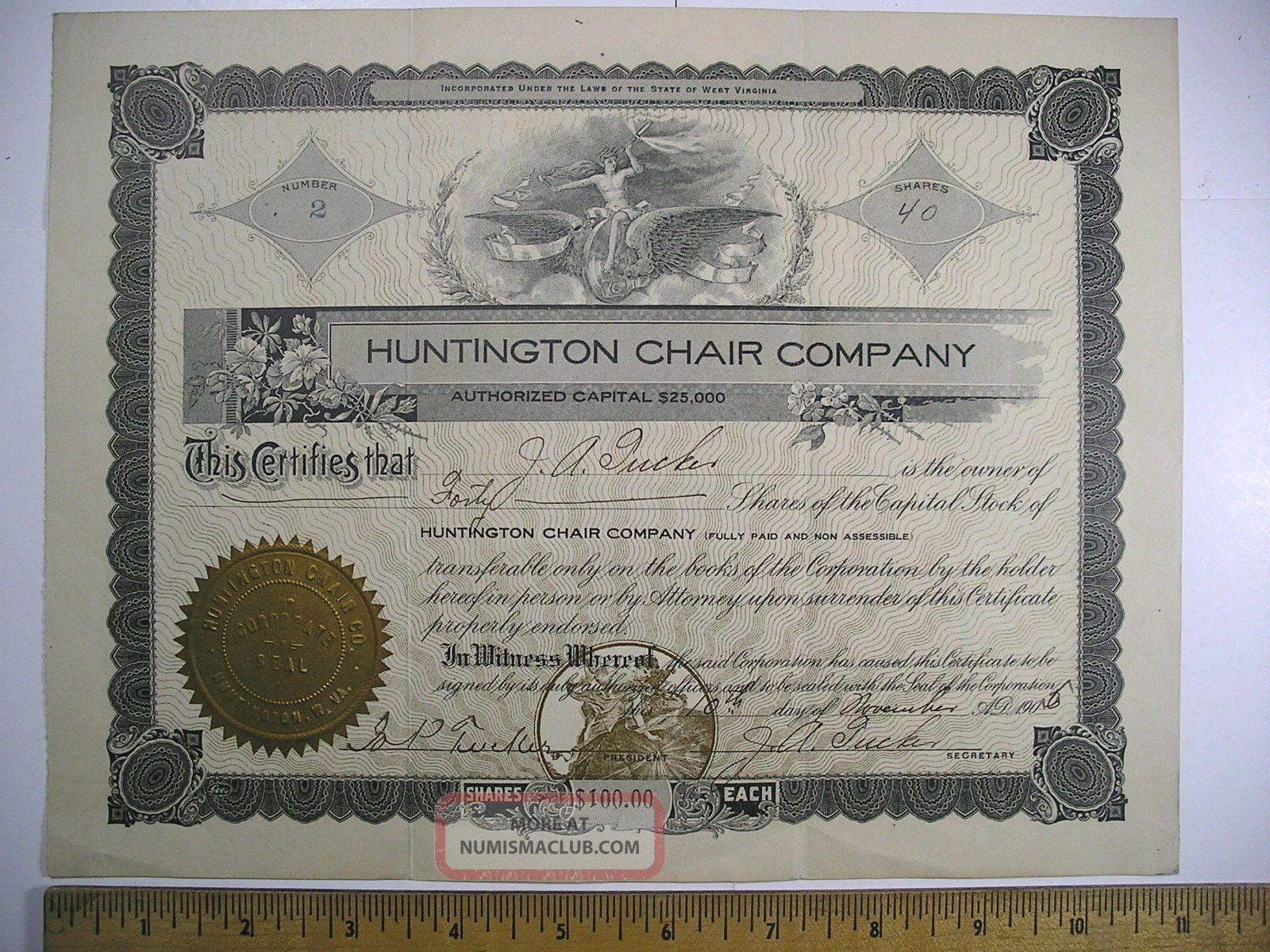 1905 Stock Cert No.  2 Huntington Chair Company Huntington,  Wv 40 Shares Stocks & Bonds, Scripophily photo