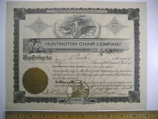 1905 Stock Cert No.  2 Huntington Chair Company Huntington,  Wv 40 Shares photo