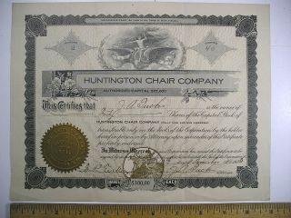 1905 Stock Cert No.  2 Huntington Chair Company Huntington,  Wv 40 Shares photo