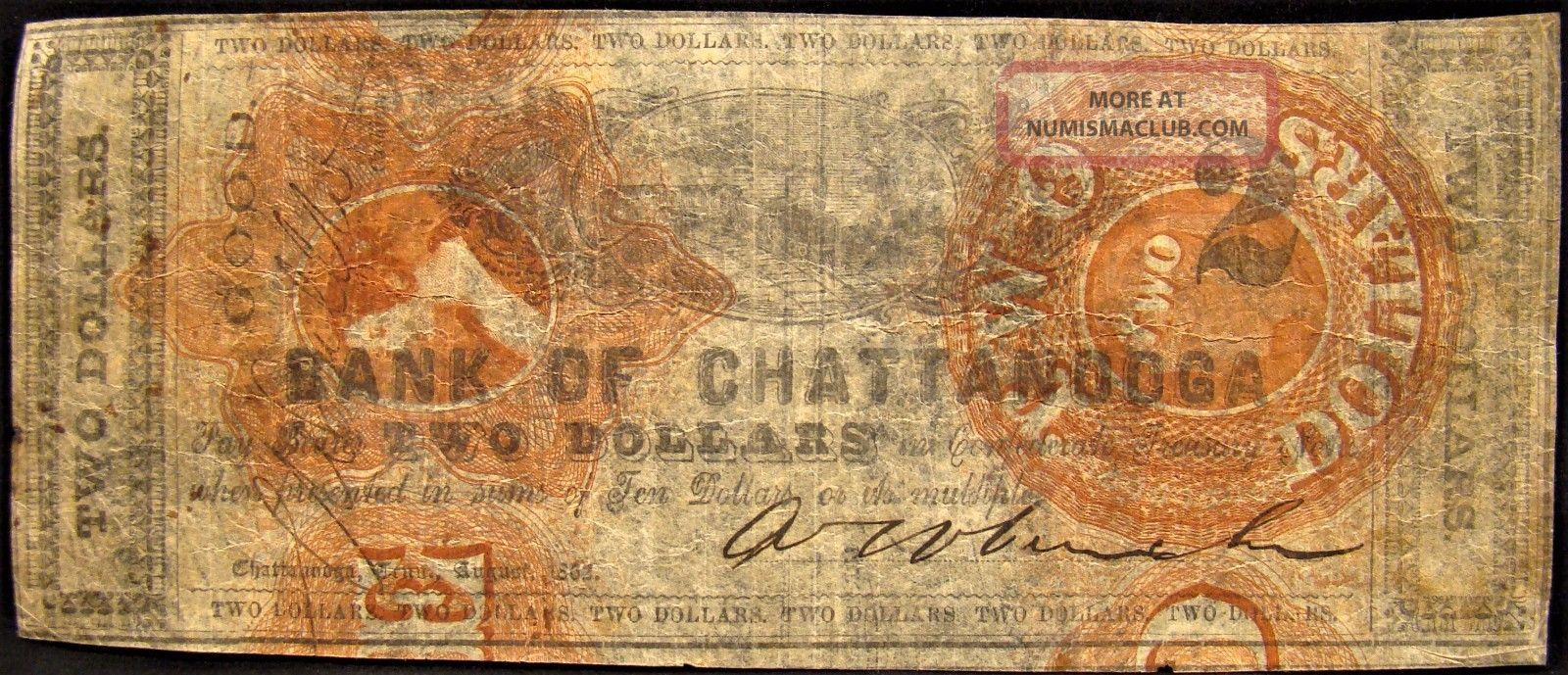 Rare 1862 Dated Confederate Bank Of Chattanooga $2.  00 Note. Paper Money: US photo