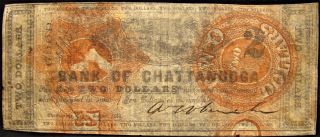 Rare 1862 Dated Confederate Bank Of Chattanooga $2.  00 Note. photo
