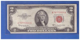 (1) - 1953c Series United States Note Red Seal $2 Two Dollar Bill Lt S641 photo