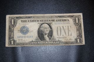 Old Vintage 1928a One Dollar Bill $1 Silver Certificate Funny Back photo