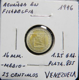 1/4 Bolivar Gram 1.  25 1946 Venezuela Silver Coin Choice Unc photo