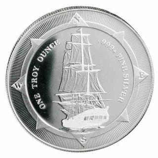 2017 Zealand Hms Bounty 1 Oz.  999 Silver Bu Round Very Limited Bullion Coin photo