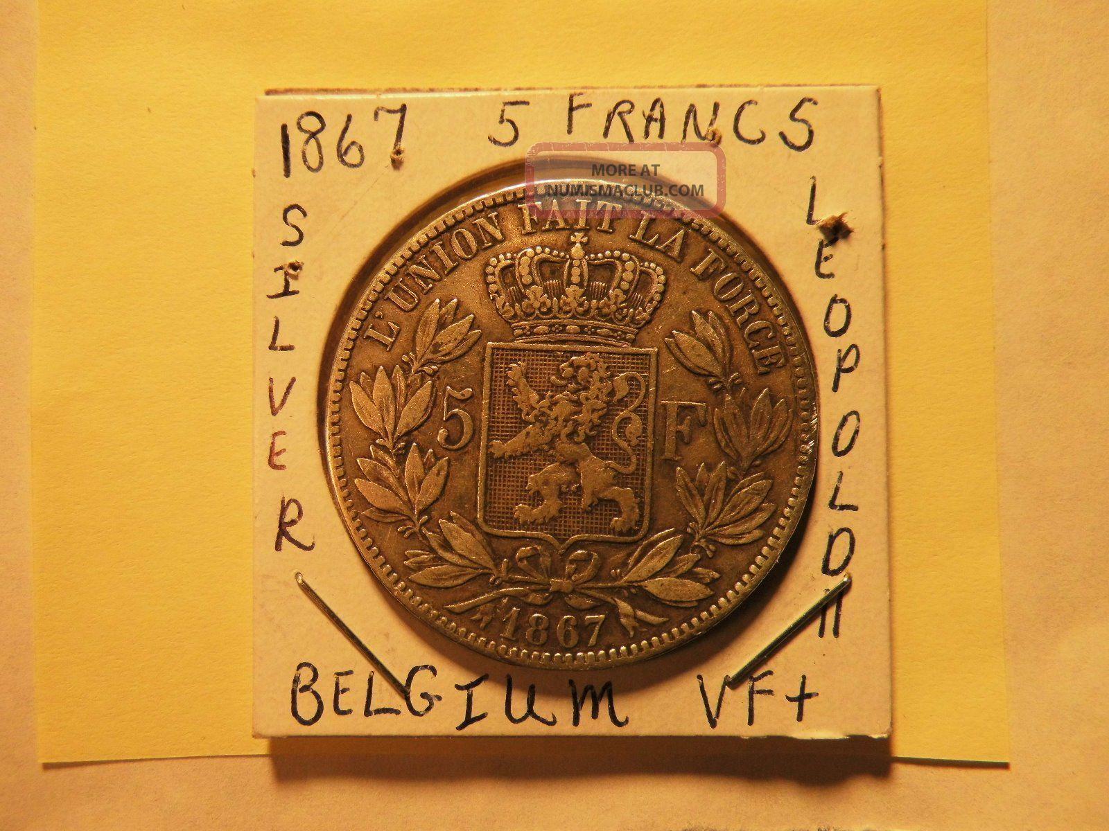 Belgium 1867 5 Francs Silver Leopold Ii Vg $34.  50 Save Now Belgium photo