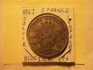 Belgium 1867 5 Francs Silver Leopold Ii Vg $34.  50 Save Now photo