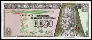 Guatemala 1/2 Quetzal 4/1/1989 P - 72a Ef Circulated Banknote photo