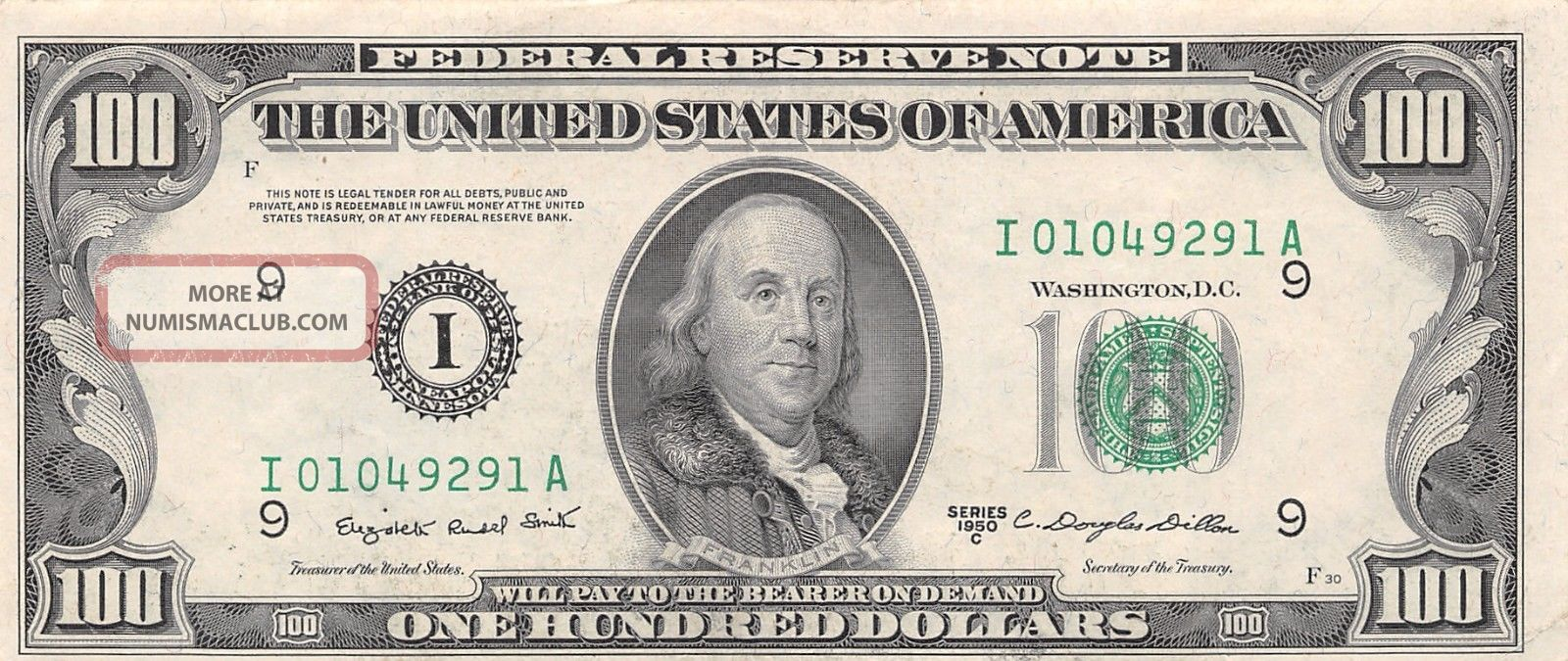 1950c Series I A Minneapolis 100 Dollar Federal Reserve Note