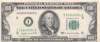 1950c Series I/a (minneapolis) $100 Dollar Federal Reserve Note Bill Us Currency photo