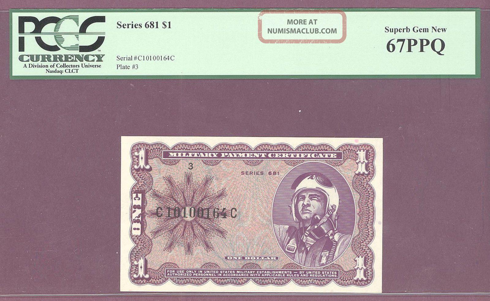 Series 681 $1 Military Payment Certificate Mpc Pcgs 67 Ppq Gem Paper Money: US photo