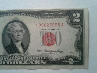 1953 Us $2 Red Seal Star Replacement Note In Crisp Au photo
