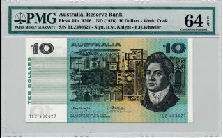 Reserve Bank Australia $10 Nd (1976) Pmg 64epq photo