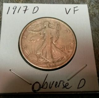 1917 D Obverse Mark Walking Liberty Silver Half Dollar Coin Details photo