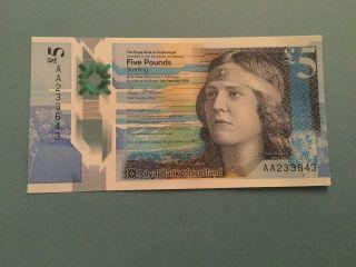 Uk Great Britain Scotland 5 Pounds,  (2016),  Polymer,  P -,  Unc photo