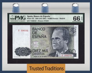 Tt Pk 161 1985 10000 Pesetas Spain Banco De Espana Pmg 66 Epq Gem Uncirculated photo
