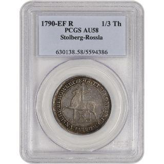 1790 Ef R Germany Stolberg Rossla Silver 1/3 Thaler - Pcgs Au58 photo