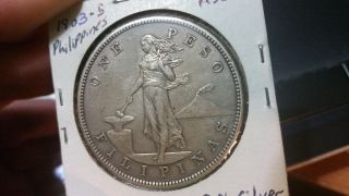 1903 - S Philippines 1 Peso Coin -.  900 Silver - Low Mintage - Au Rare photo