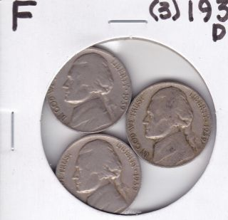 3 - 1939 - D Jefferson Nickels  Fine  Key Dates photo