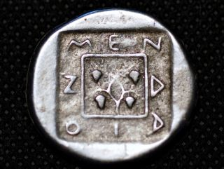 Greece Silver.  V Century Bc.  Menoli.  Dionis Drunk Seated On Animal Museum Res.  Coin photo
