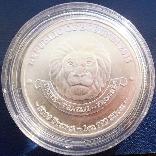 . 999 Silver 2015 Burundi 5000 Francs 1 Oz African Lion Gem Bu Low Mintage 50k photo