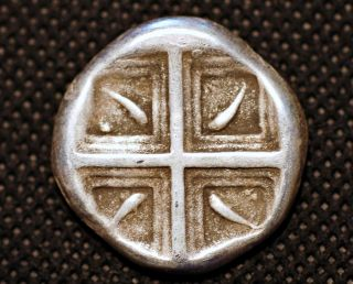 Greece Silver.  Delfi.  V Century Bc.  Dolphins.  2 Hd Of Bull.  Museum Res.  Coin photo