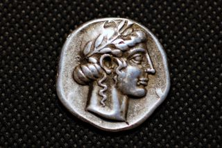 Greece Silver.  V Century Bc.  Aeontinon City.  Head Of Apolon.  Museum Res.  Coin photo