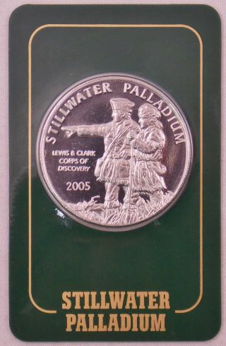 2005 Johnson Matthey Stillwater Palladium.  9995 1 Oz Lewis & Clark W/ Assay photo