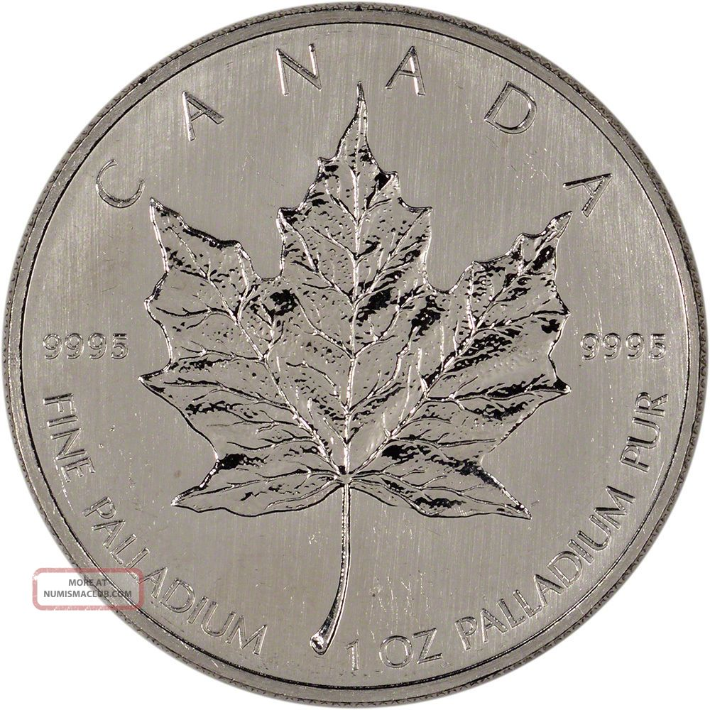 Canada Palladium Maple Leaf - 1 Oz - $50 -.  9995 Fine - Random Year Bullion photo