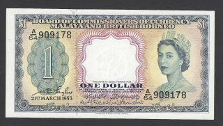Malaya And British Borneo Currency 1 Dollar 1953 P1a Aunc - Unc photo