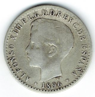 Puerto Rico 1896 Pg V 10 Centavos Fine photo