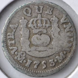 1753 1/2 Real Spanish Milled Pillar Coinage Mexico City Circulated photo