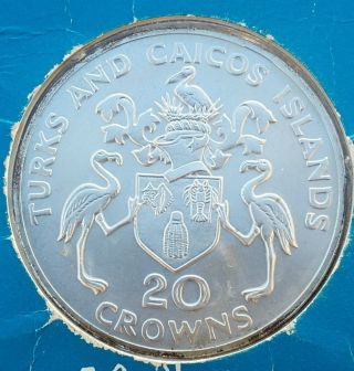1974 Turks And Caicos 20 Crowns Sterling Silver Uncirculated photo