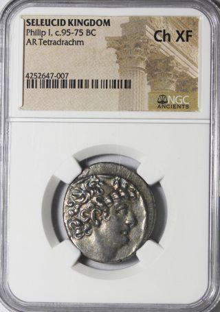 Philip I Philadelphus 95 - 75 Bc Silver Tetradrachm Ngc Ch Xf photo